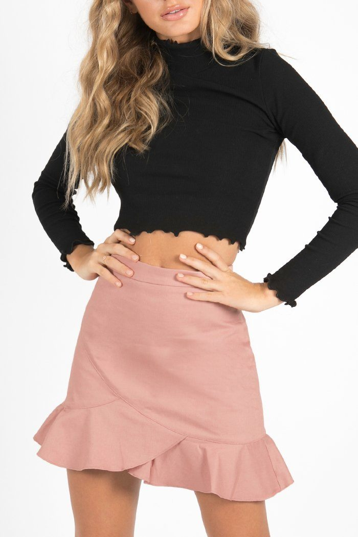 IS IT TOO LATE FRILL MINI SKIRT Clothing DISSH Boutiques 10 PINK
