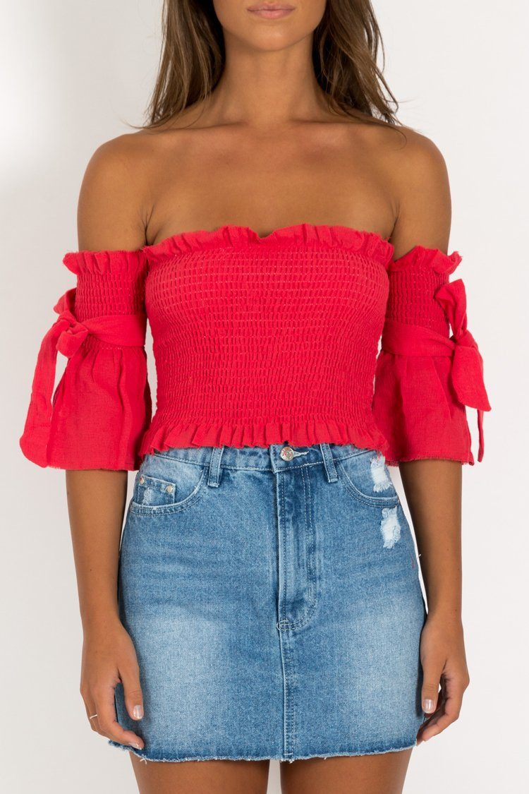 NO LOVE IN BROOKLYN SHIRRED TOP - DISSH Boutiques