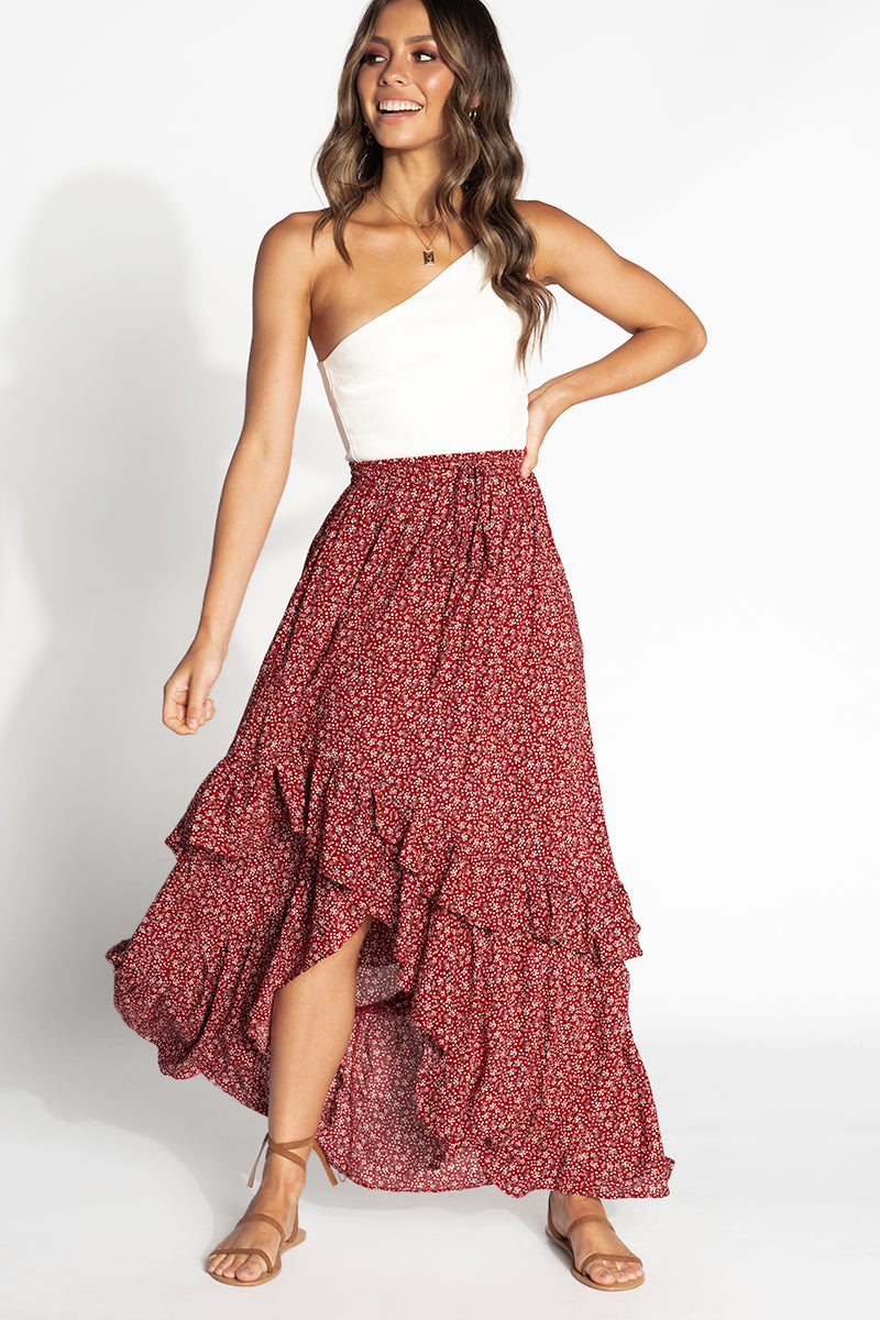 IF YOU LOVE SOMETHING MAXI SKIRT Clothing DISSH Boutiques 12 RED