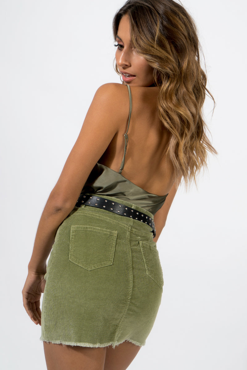 SOMEONE LIKE YOU CORD MINI SKIRT Clothing DISSH Boutiques KHAKI 6