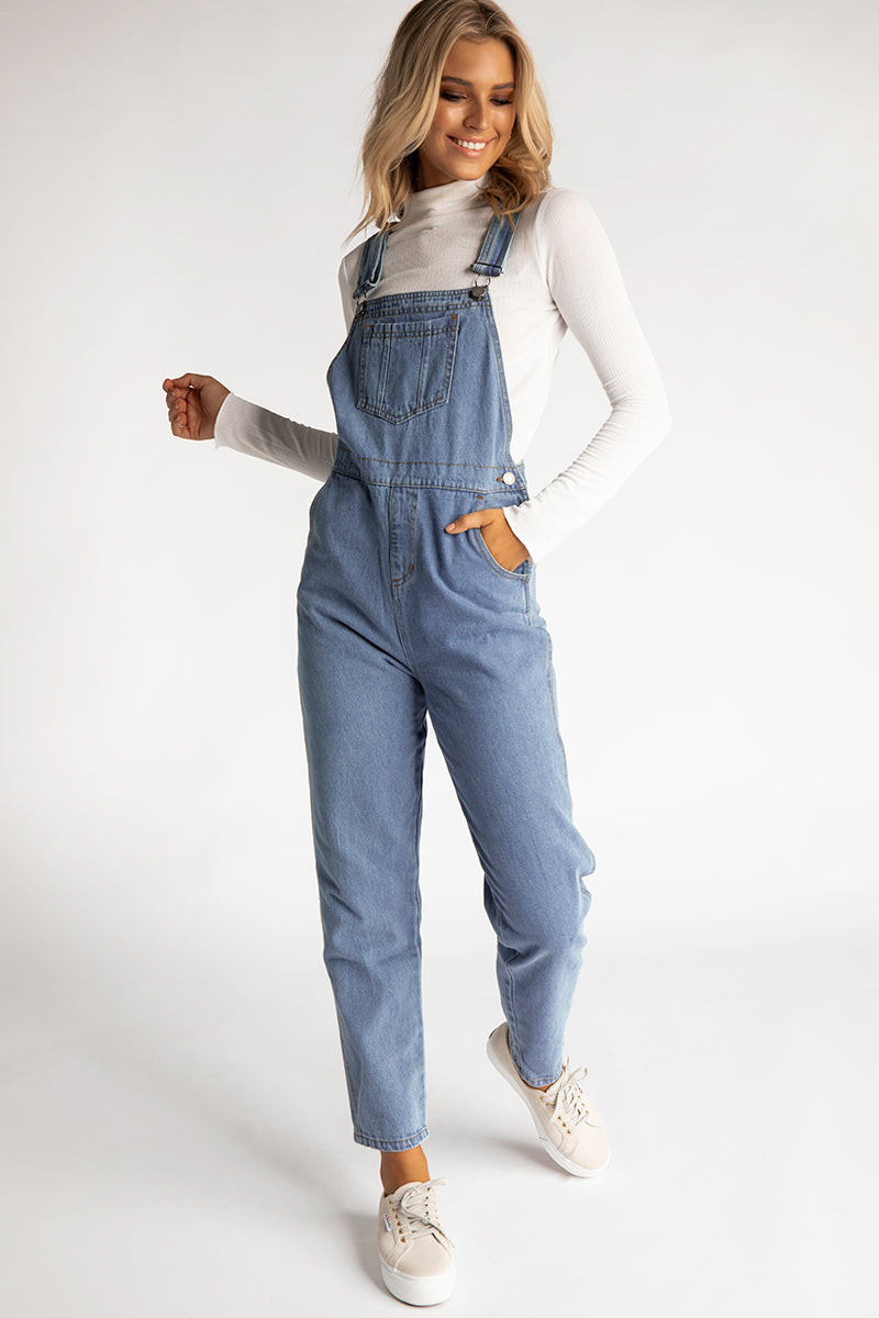 ARTHOUSE BLUE DENIM OVERALLS Clothing THE FIFTH LABEL L BLUE
