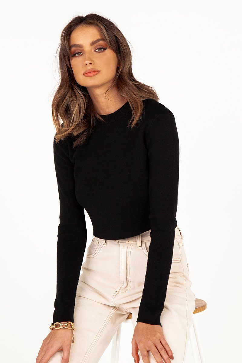 JAZZ BLACK CROP KNIT TOP Clothing DISSH Boutiques 6 BLACK