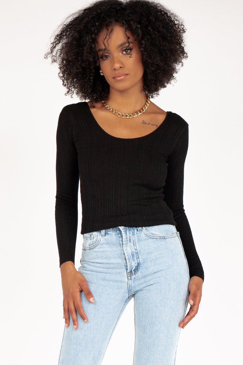 MY WAY BLACK KNIT TOP Clothing DISSH Boutiques 14 BLACK