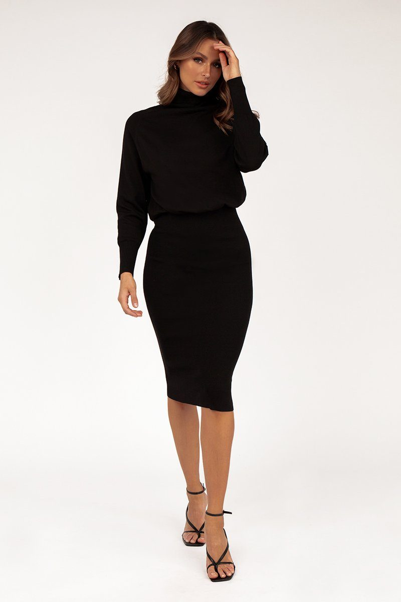 CINDY BLACK MIDI DRESS Clothing DISSH Boutiques
