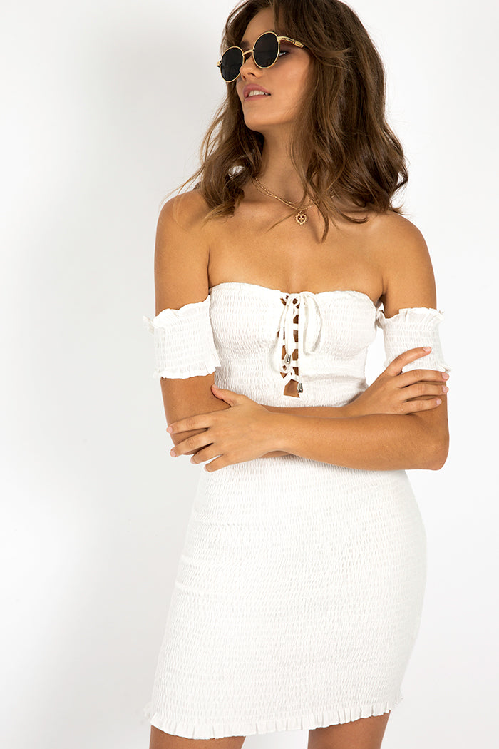 UNRAVEL ME SHIRRED TIE DRESS Clothing DISSH Boutiques 6 WHITE