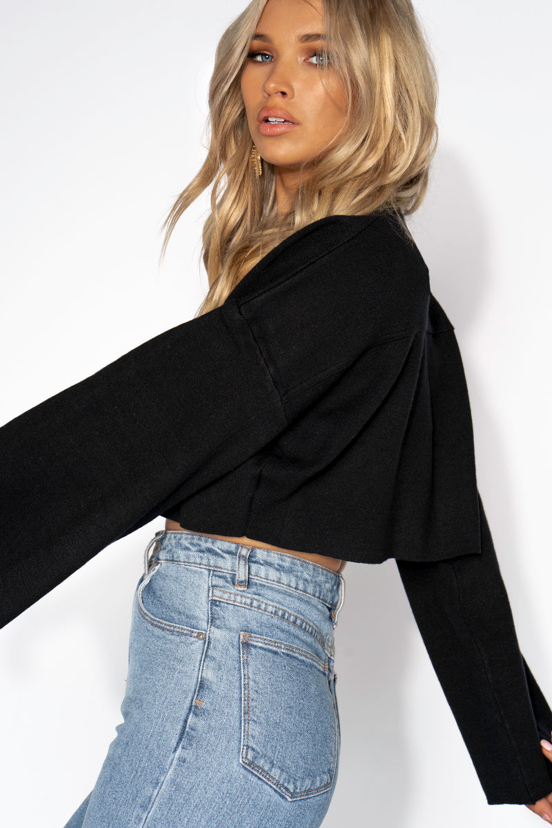 SAY SOMETHING CROPPED JUMPER Clothing DISSH Boutiques BLACK 1012