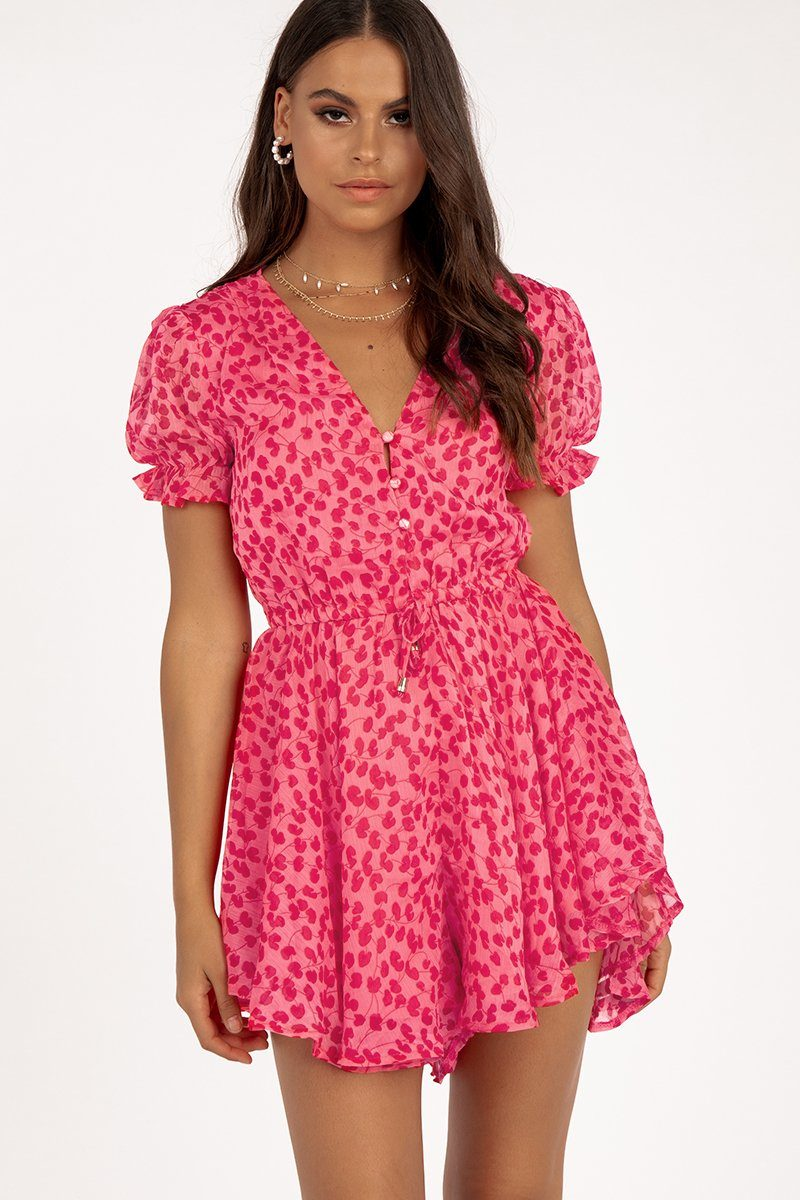 CHERRY BLOSSOM PLAYSUIT HOT PINK Clothing DISSH Boutiques 10 HOT PINK
