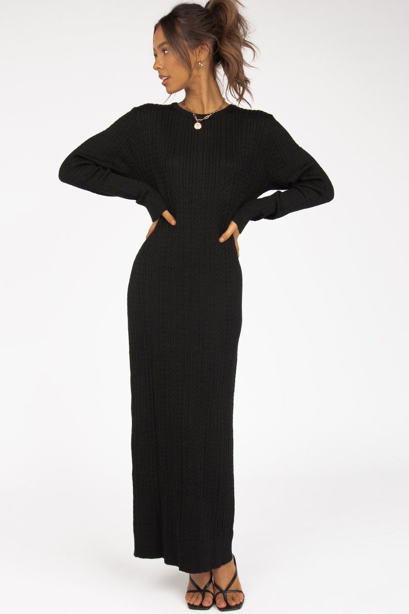 FROM ROME BLACK KNIT MIDI DRESS
