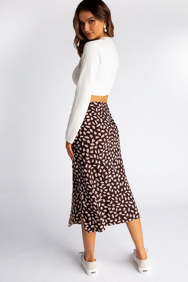 698faeaf33 ... SWEET MELODY BROWN SPOT MIDI SKIRT Clothing DISSH Boutiques ...