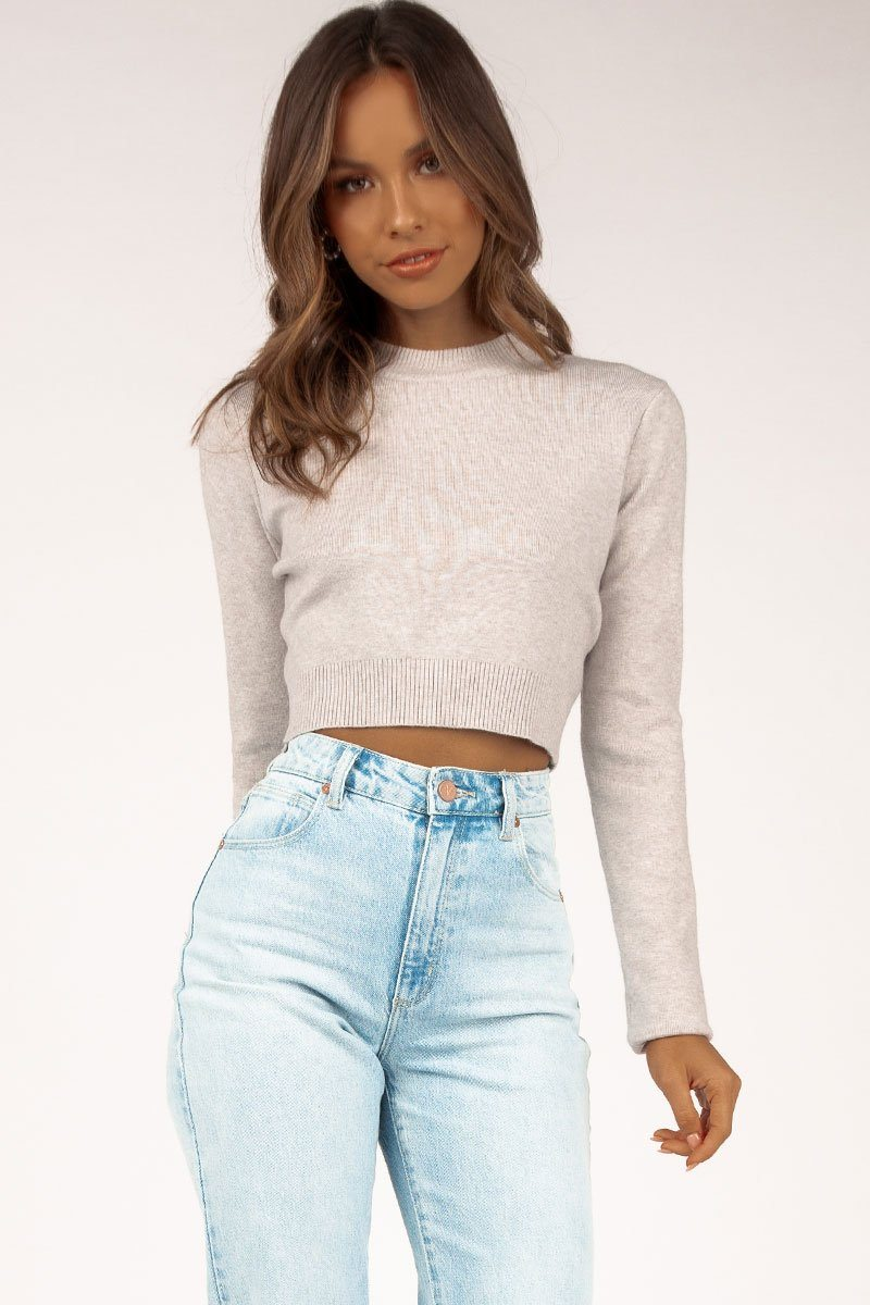 CHARLOTTE GREY KNIT TOP