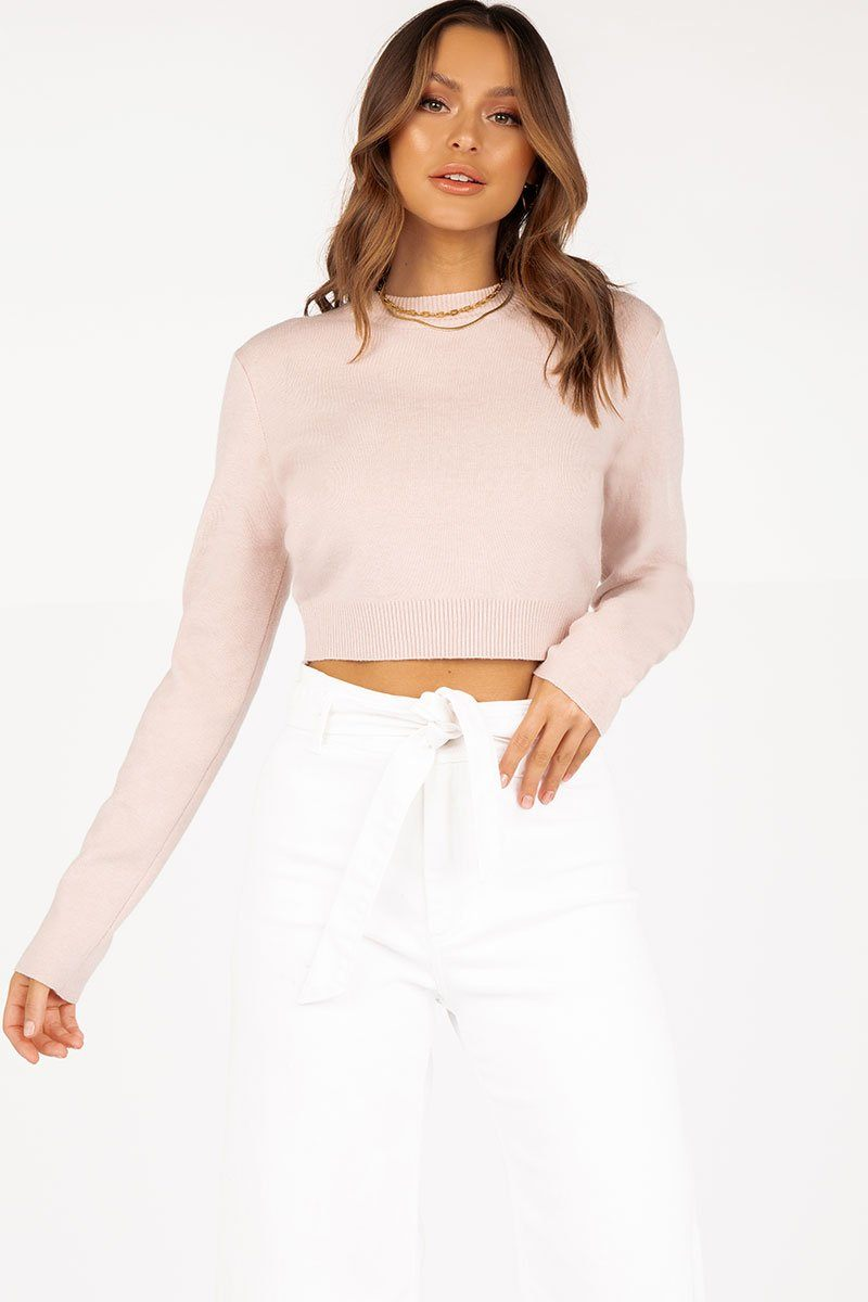 CHARLOTTE BLUSH KNIT TOP Clothing DISSH Boutiques M/L LIGHT PINK