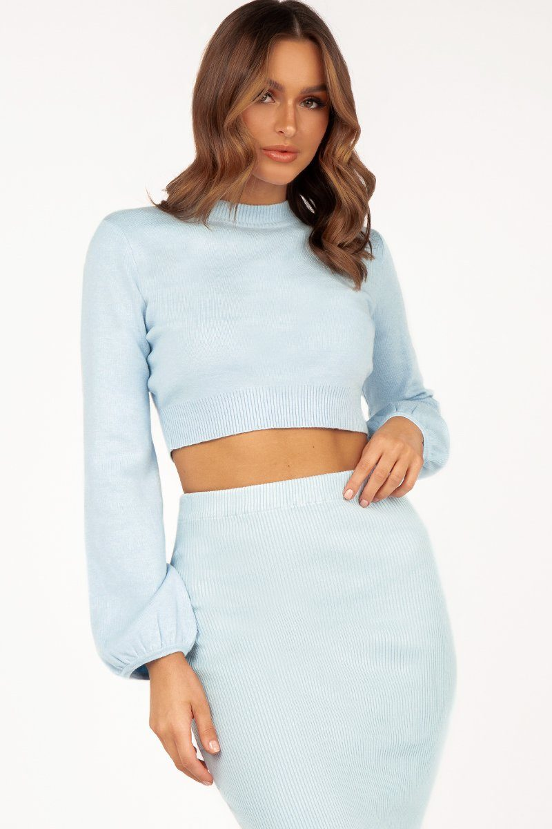 SHARON BLUE LONG SLEEVE KNIT Clothing DISSH Boutiques S/M BLUE