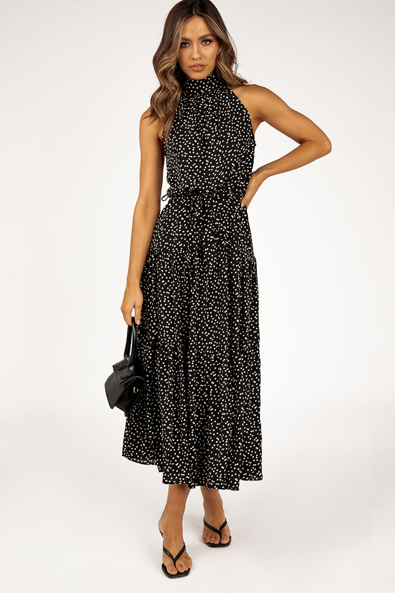 LATE NIGHTS DOTTED BLACK MIDI DRESS