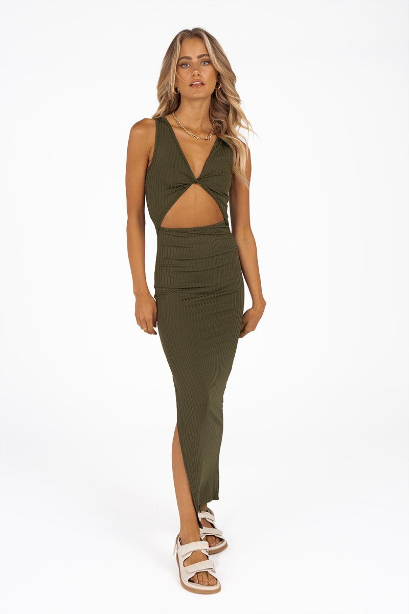 ABI KHAKI KNIT MIDI DRESS