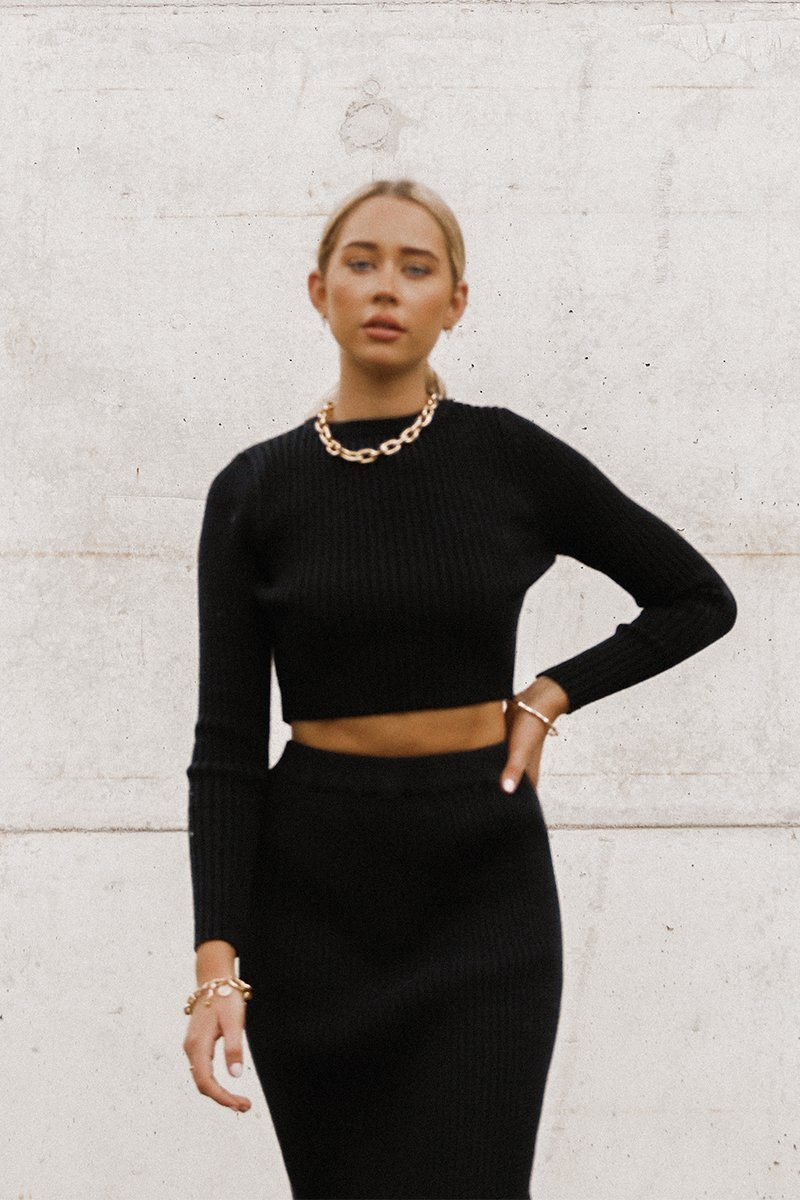 GEORGIE BLACK CROP KNIT TOP Clothing DISSH Boutiques L/XL BLACK
