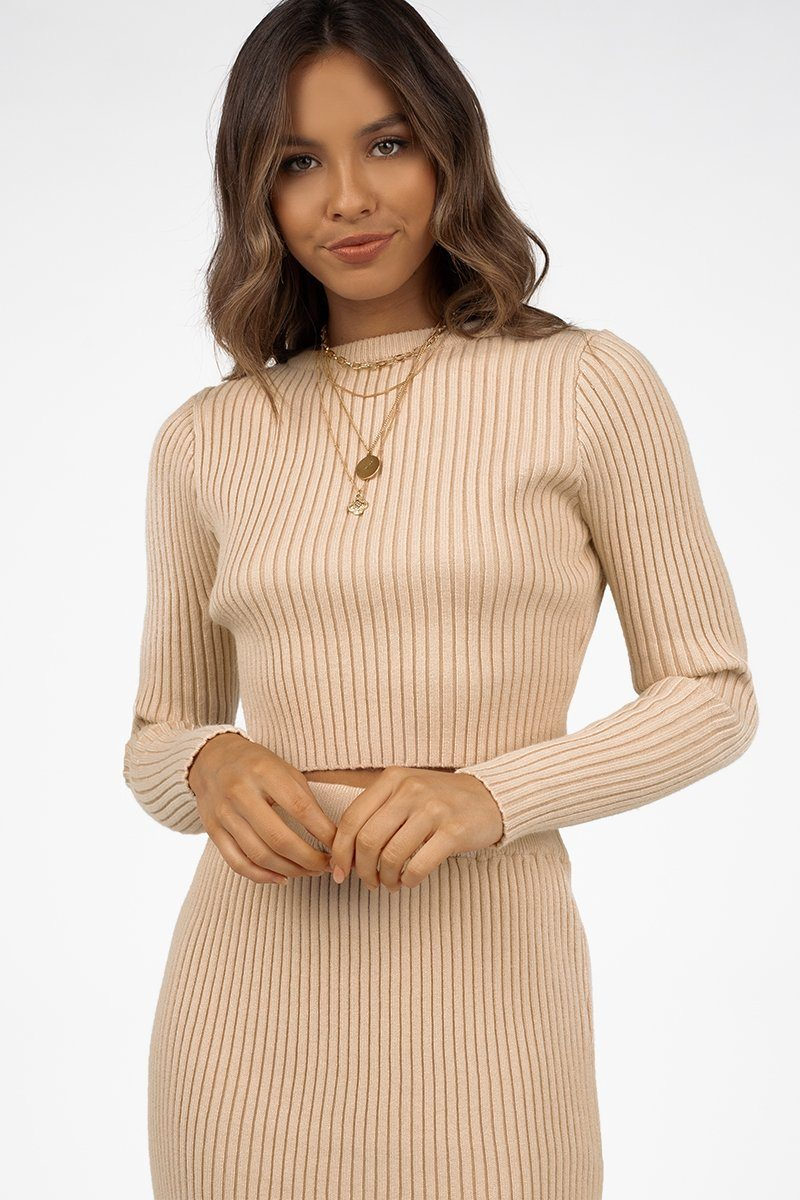 GRANGER OAT CROP KNIT TOP Clothing DISSH Boutiques M/L MOCHA