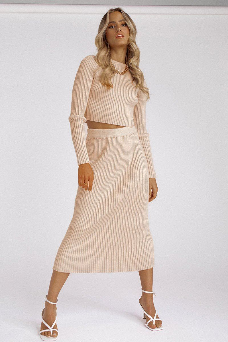 GEORGIE OAT KNITTED MIDI SKIRT Clothing DISSH Boutiques L/XL OAT
