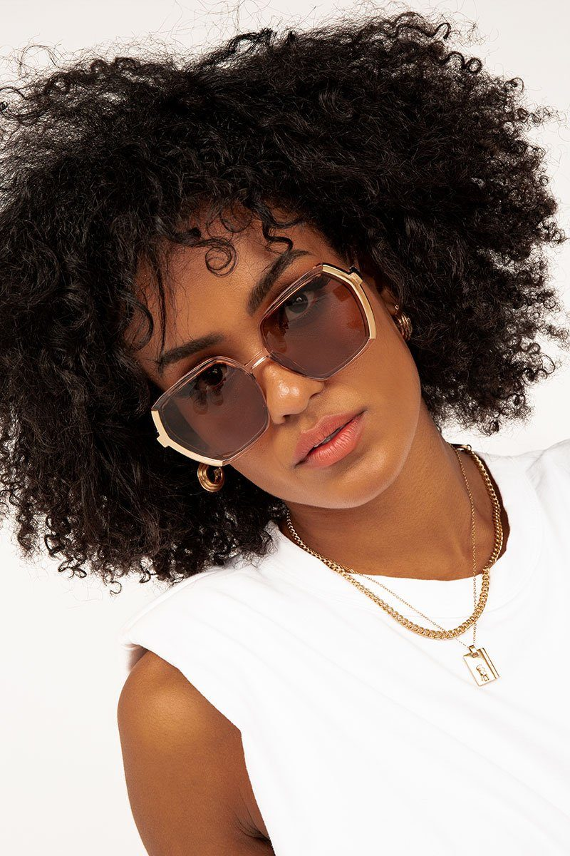 KIMMY BROWN OVERSIZED SUNGLASSES Accessories DISSH Boutiques O/S BROWN