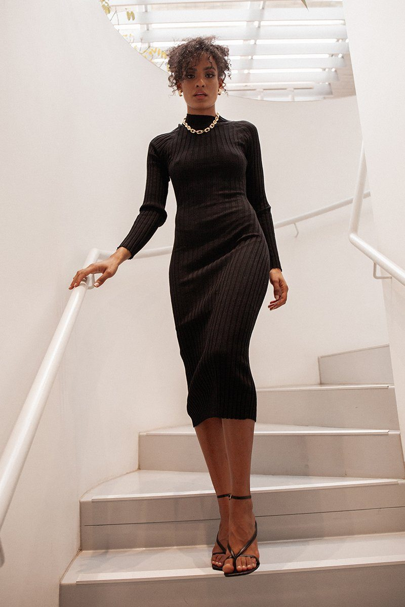 LIZZIE BLACK KNIT MIDI DRESS Clothing DISSH Boutiques 14 BLACK