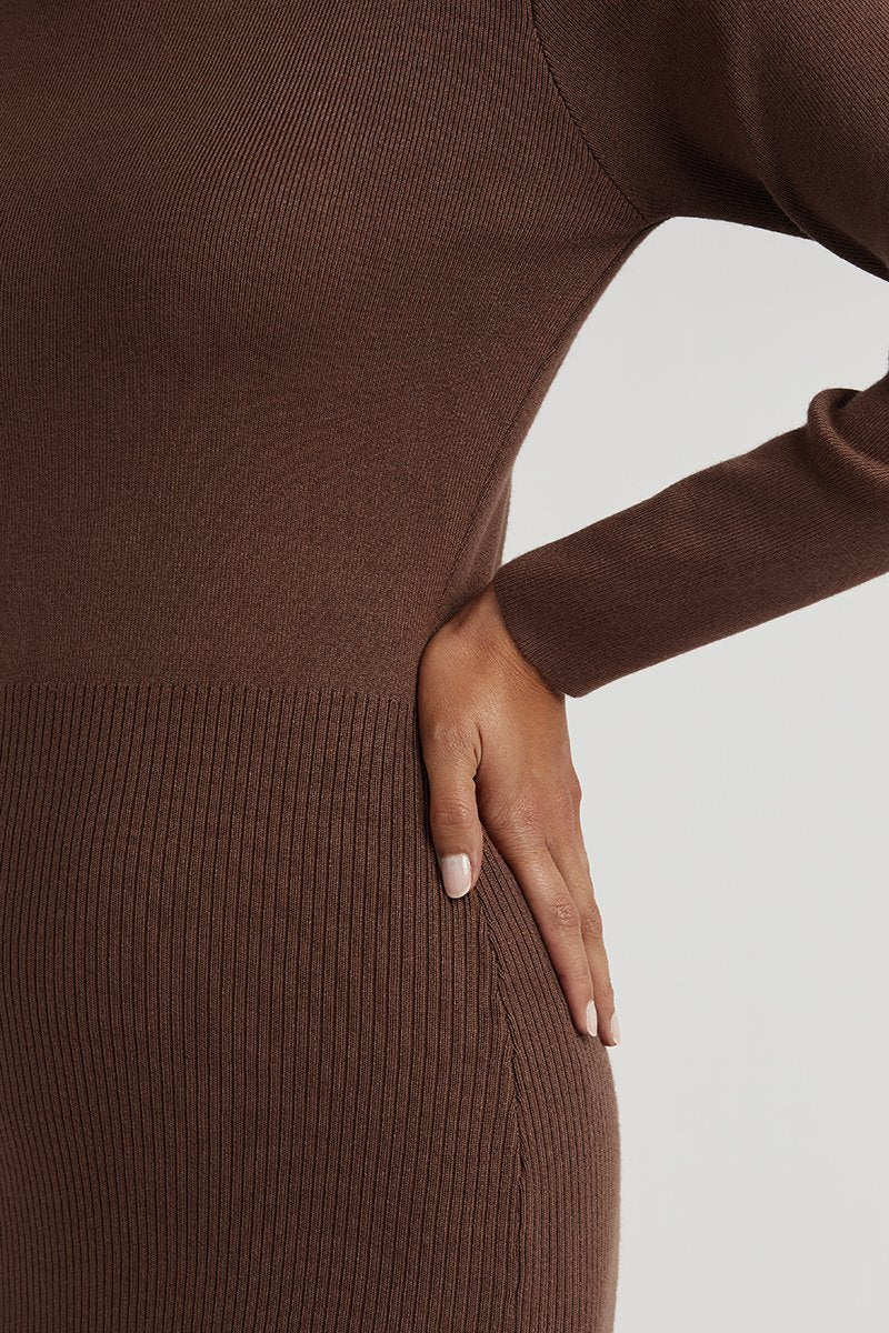 RACHEL CHOCOLATE KNIT MIDI DRESS Clothing DISSH Boutiques