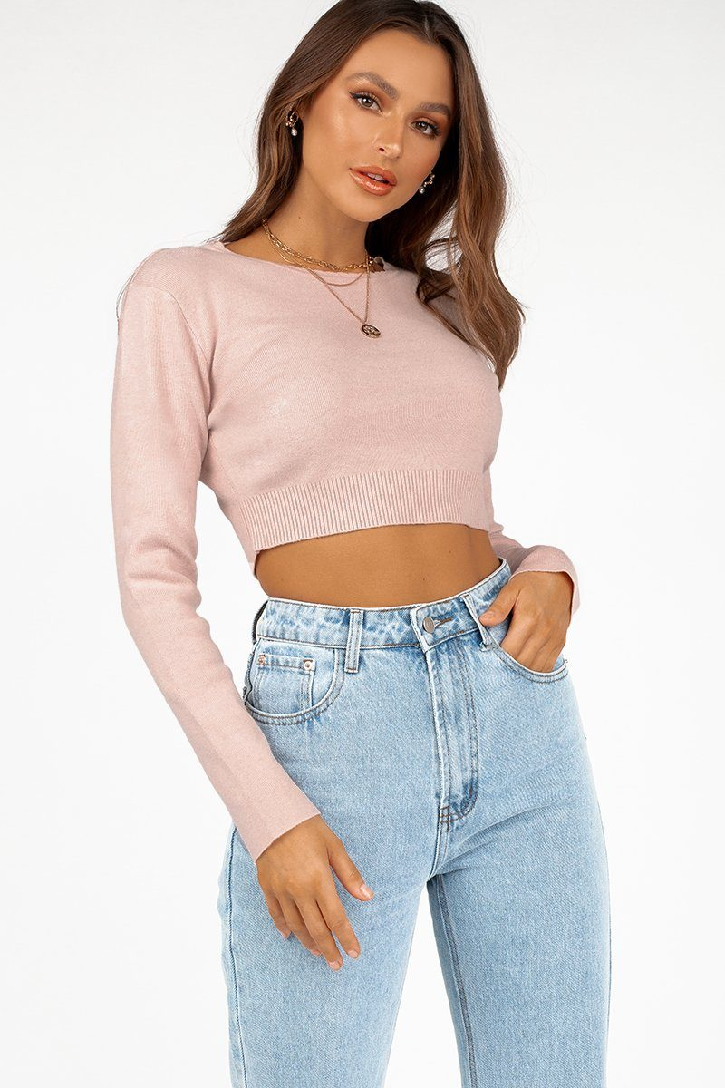 GEMMA BLUSH LONG SLEEVE KNIT TOP Clothing DISSH Boutiques S/M DUSTY PINK