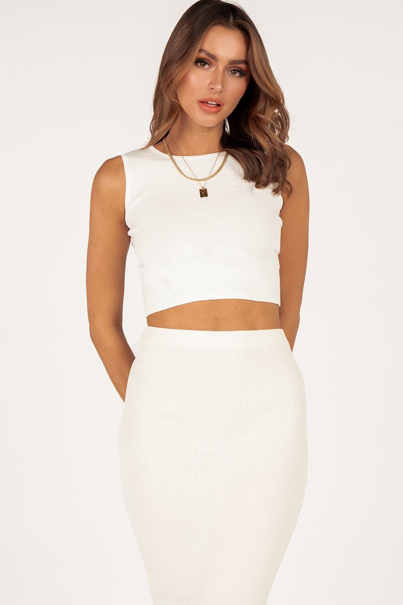 LISA WHITE KNIT CROP TOP Clothing DISSH Boutiques 6 WHITE