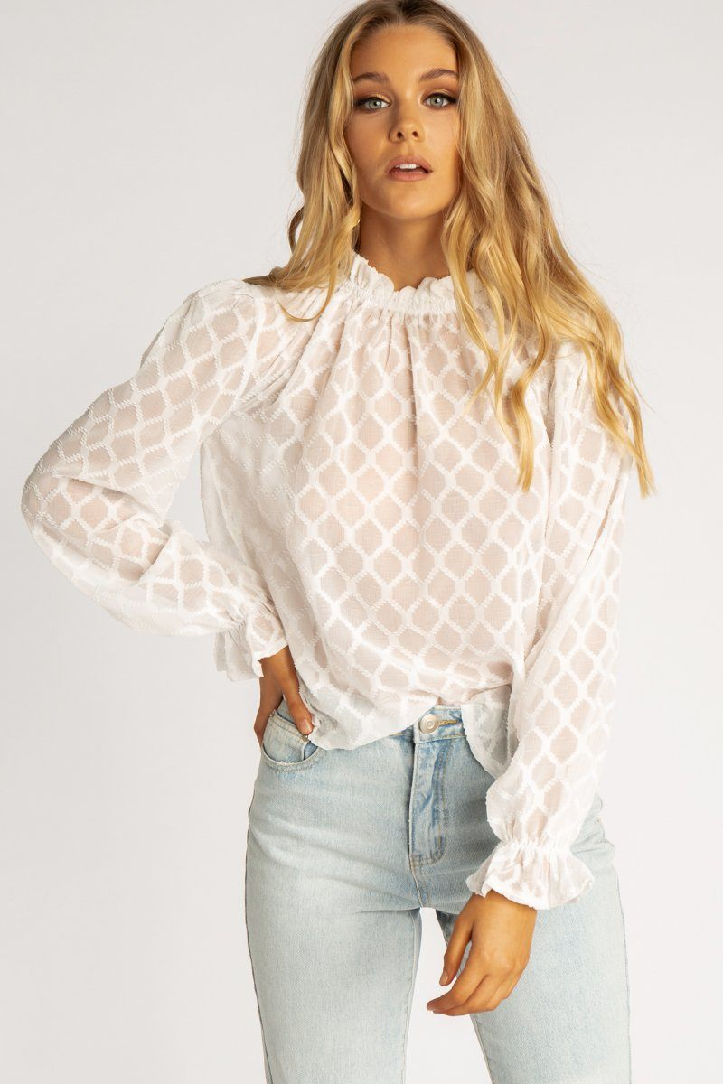 HIGHLAND WHITE BALLOON SLEEVED TOP Clothing DISSH EXCLUSIVE 14 WHITE
