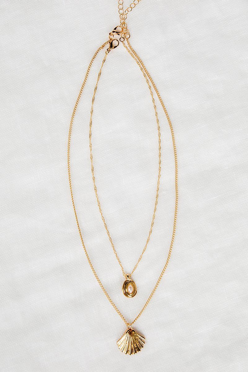 IOS GOLD SHELL LAYER NECKLACE Accessories DISSH Boutiques O/S GOLD