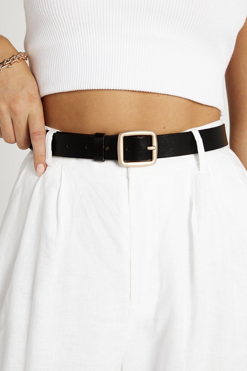 FLAWLESS BLACK LEATHER BELT Accessories DISSH Boutiques O/S BLACK