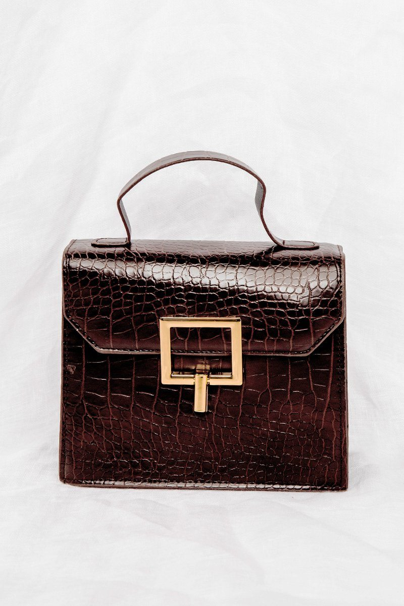TURN DOWN CHOCOLATE CROC BAG Accessories DISSH Boutiques O/S CHOCOLATE
