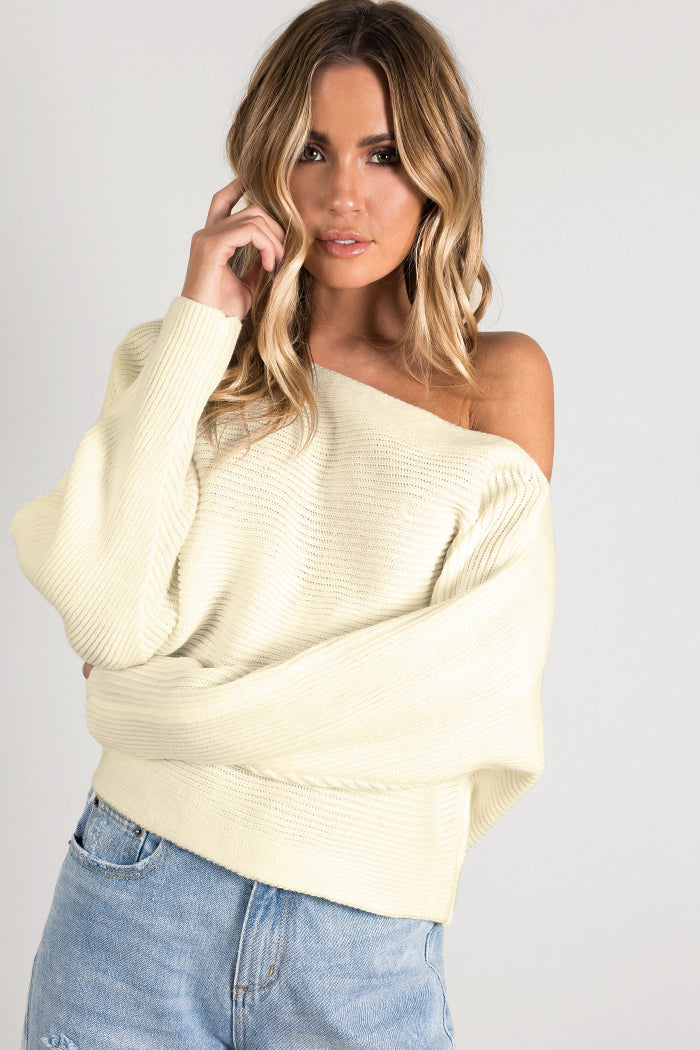 DESIRED OFF THE SHOULDER KNIT Clothing DISSH Boutiques 14 OFF WHITE
