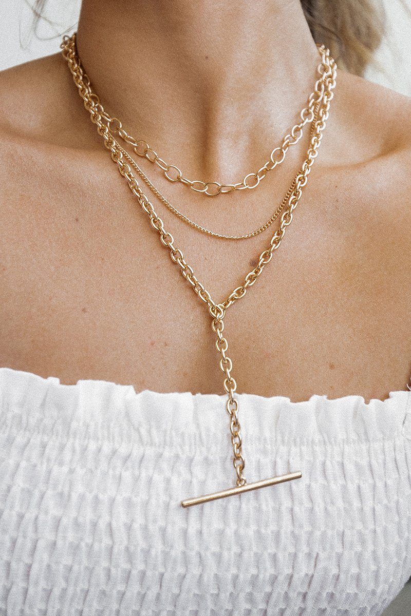 TESS LAYERED T BAR NECKLACE Accessories DISSH Boutiques O/S GOLD