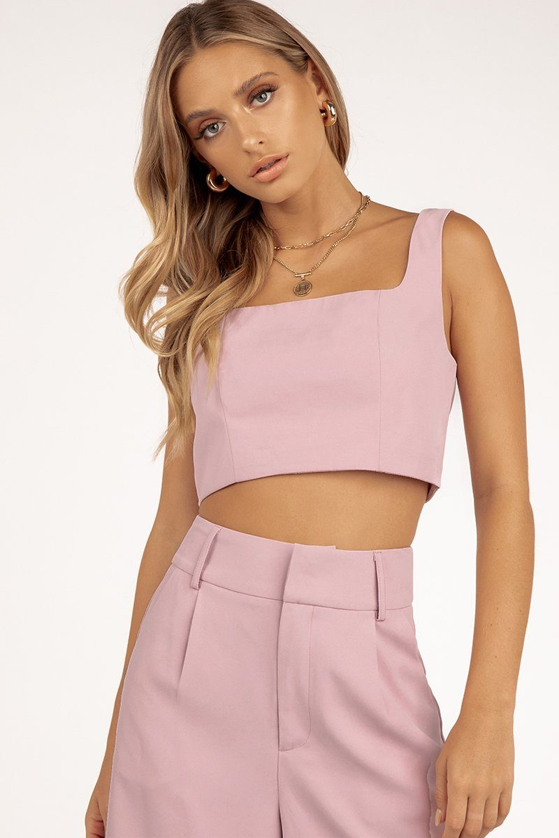 ABBIE LILAC CROP TOP Clothing DISSH Boutiques 14 LILAC