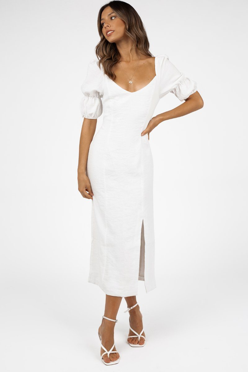 OUI PUFF SLEEVE WHITE MIDI DRESS