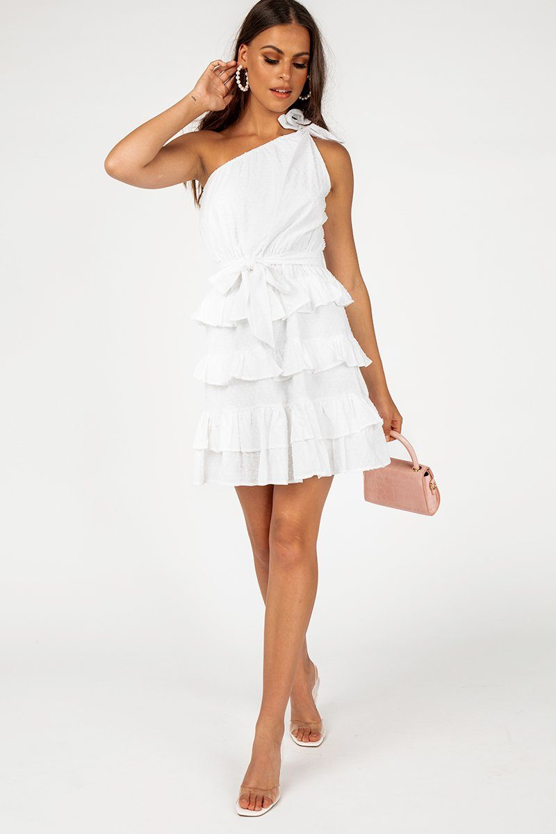 OUT OF TOWN WHITE FRILL MINI DRESS Clothing DISSH Boutiques 14 WHITE