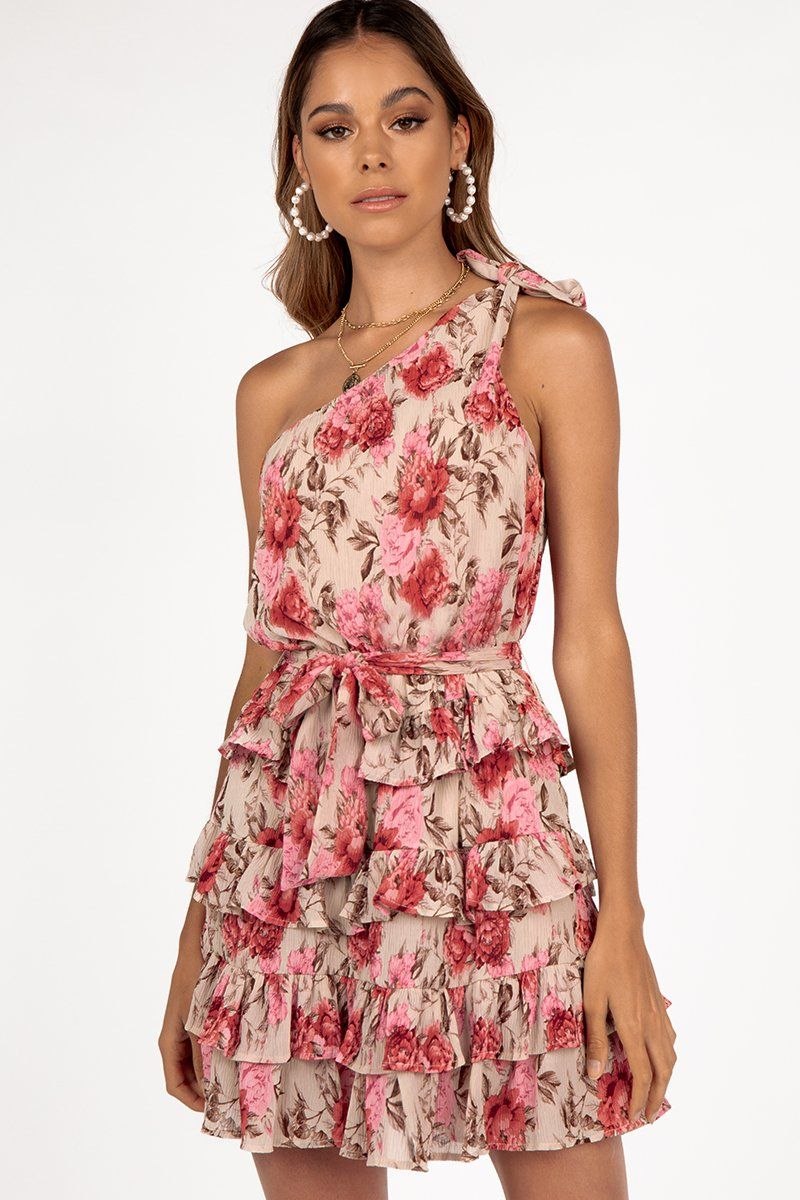 EXOTICA FLORAL ONE SHOULDER DRESS Clothing DISSH Boutiques 6 PINK