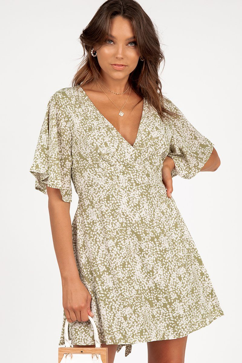 GOOD INTENTIONS WRAP DRESS SAGE Clothing DISSH Boutiques 10 OLIVE