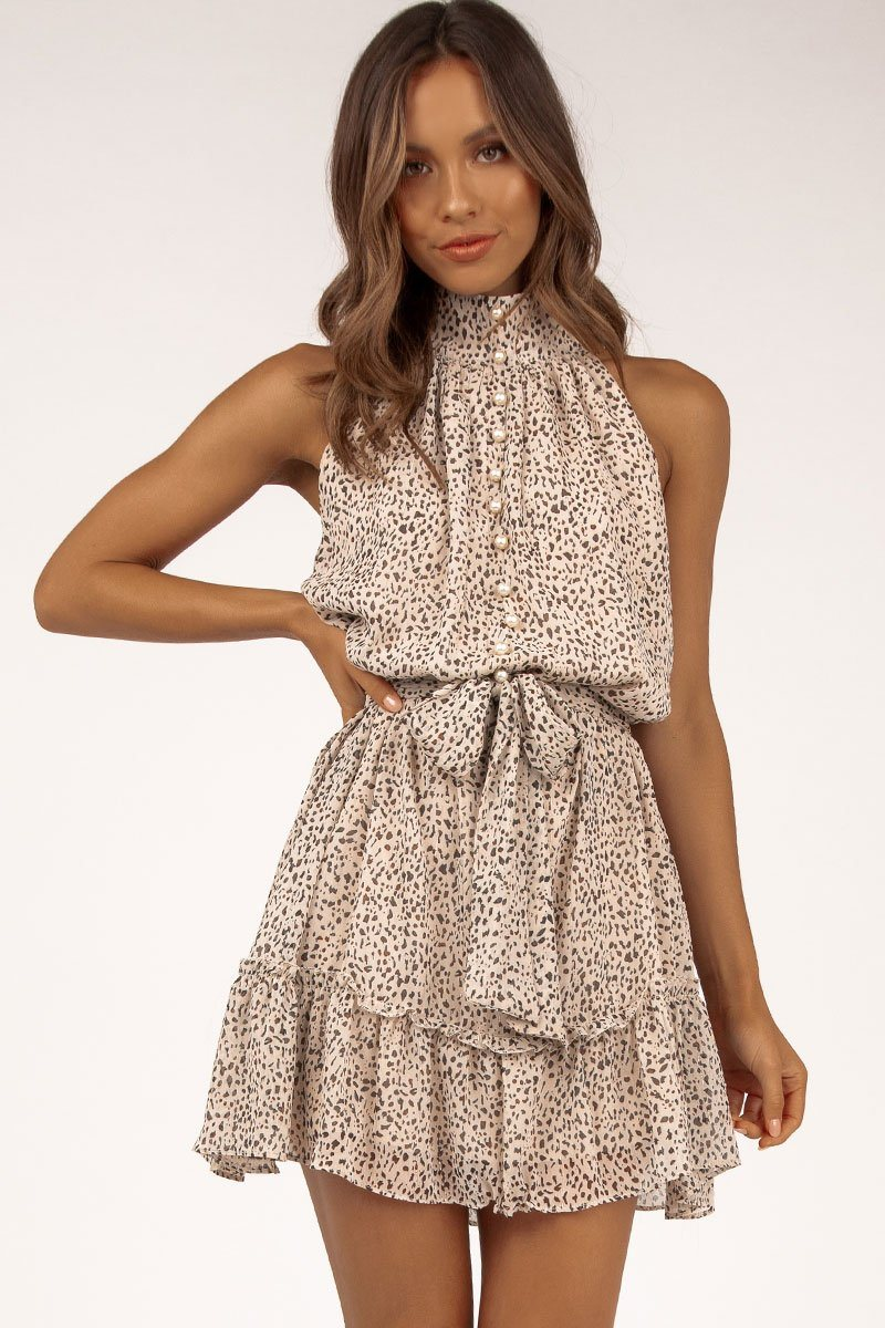 FREEDOM LEOPARD HIGH NECK DRESS