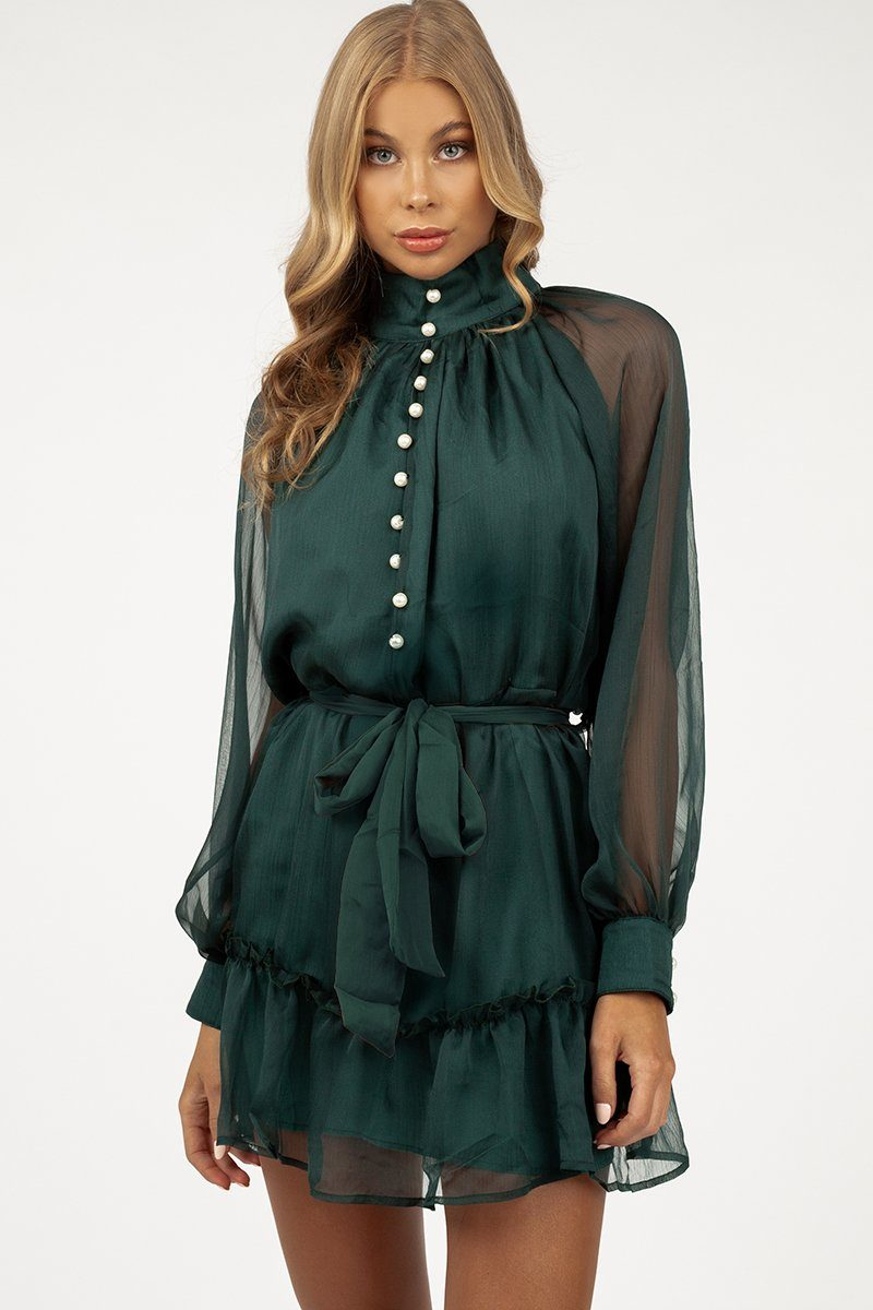 MY HEART GREEN BUTTON FRONT DRESS Clothing DISSH Boutiques 10 GREEN