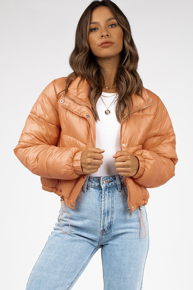 PALOMA PEACH CROPPED PUFFER JACKET Clothing DISSH Boutiques 16 PEACH
