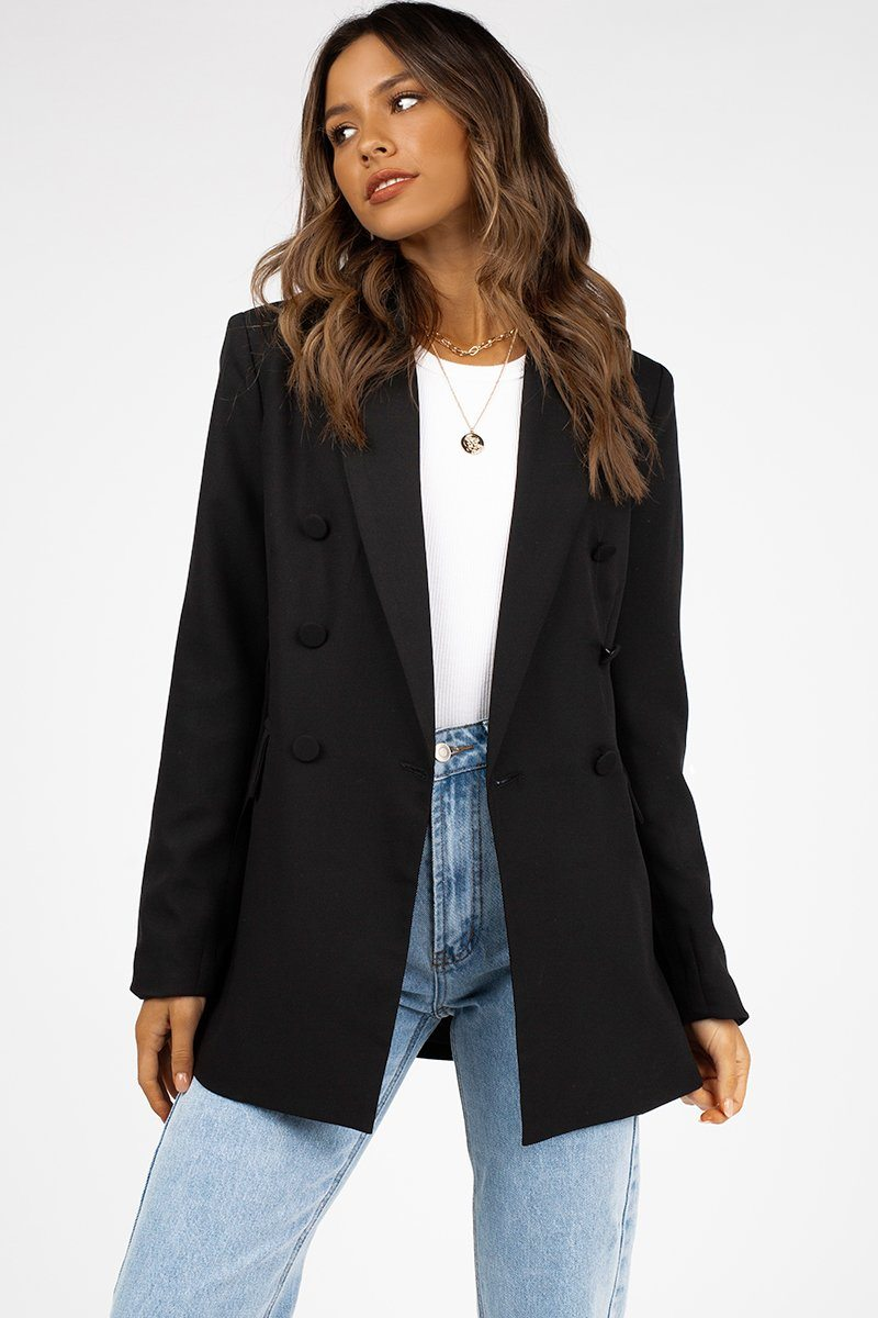 SOLEIL BLACK DOUBLE BREASTED BLAZER