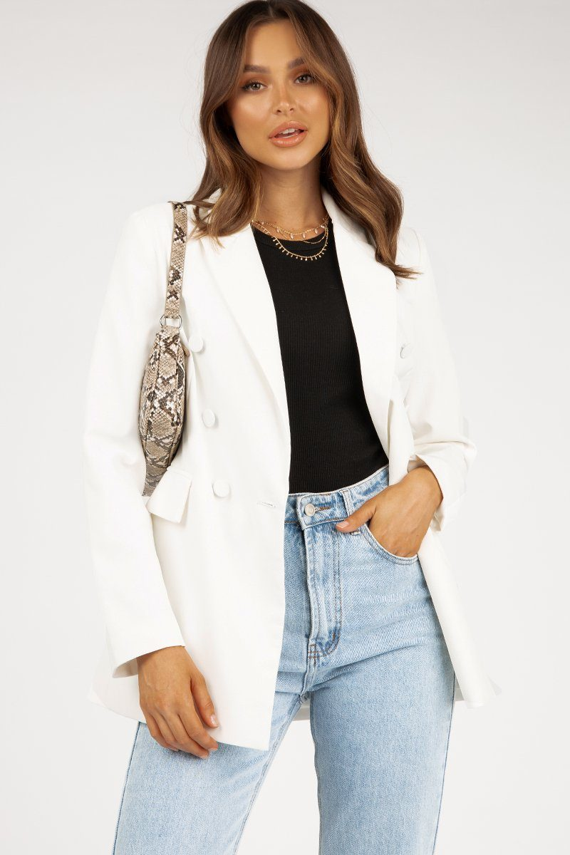 SOLEIL WHITE DOUBLE BREASTED BLAZER Clothing DISSH Boutiques 6 WHITE