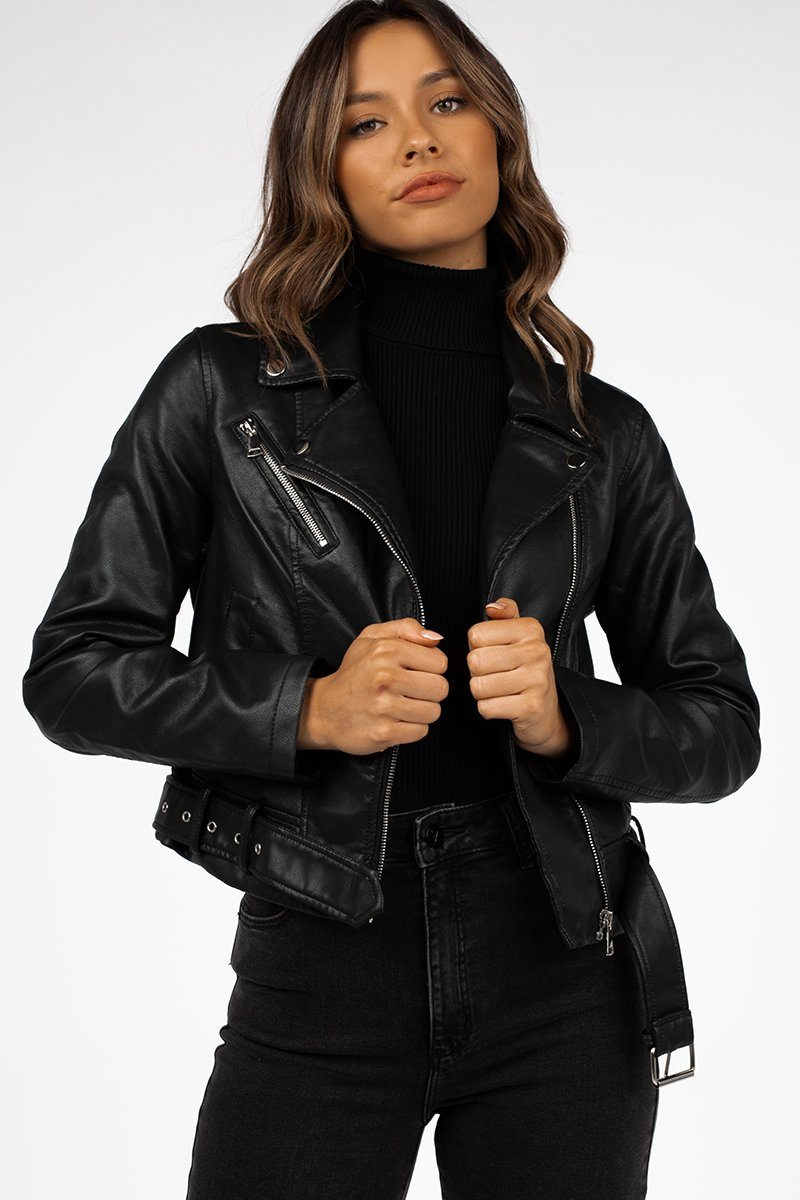STEVIE BLACK FAUX LEATHER JACKET Clothing DISSH Boutiques 16 BLACK
