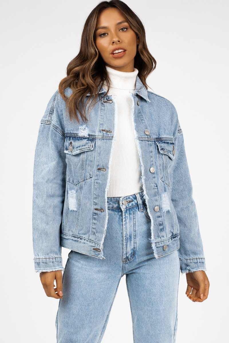 LIMELIGHT LIGHT BLUE DENIM JACKET Clothing DISSH Boutiques 14 BLUE