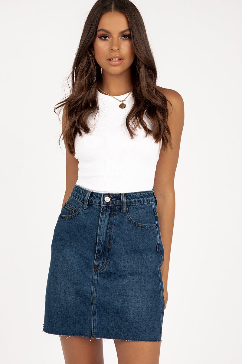 ANDRE DARK BLUE DENIM MINI SKIRT Clothing DISSH Boutiques 6 BLUE