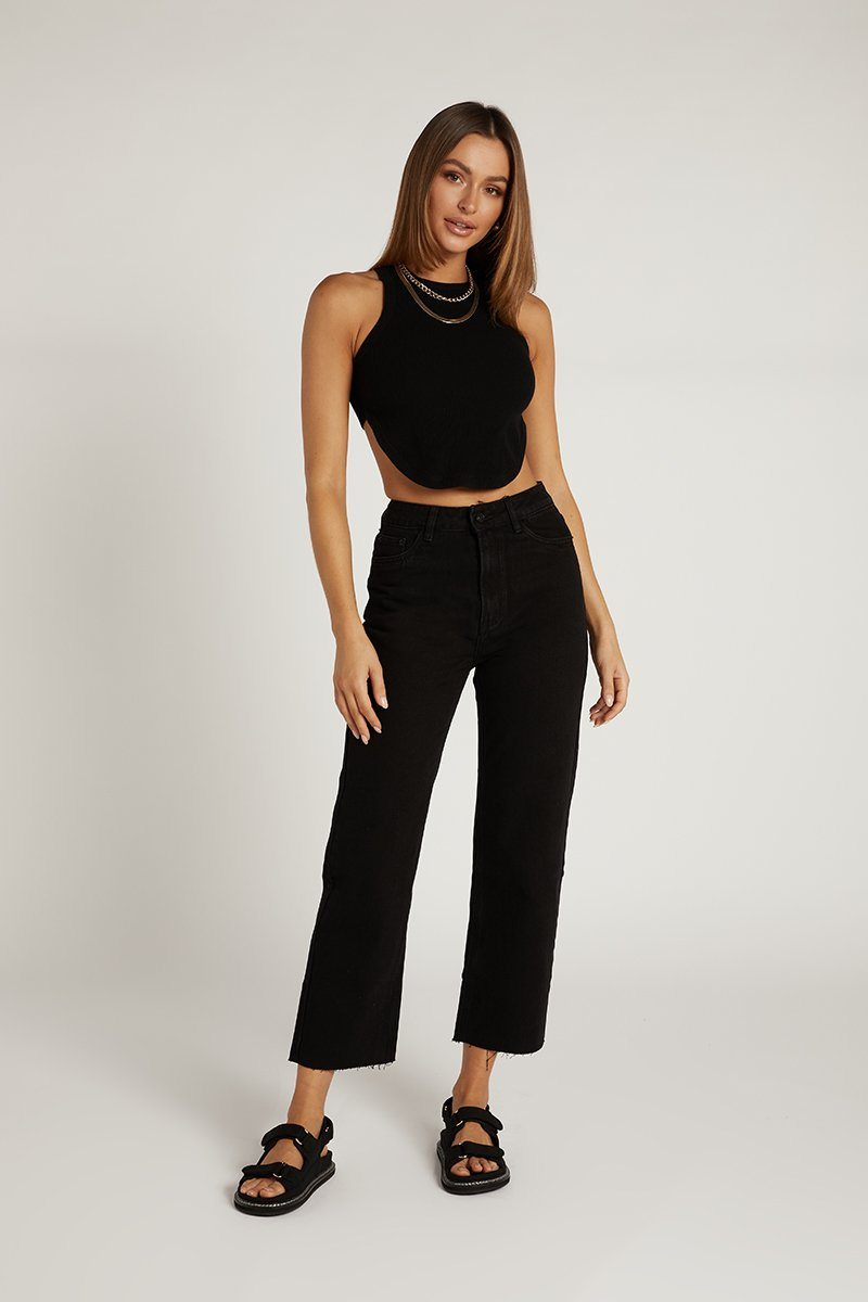 AVERY BLACK DENIM CULOTTE JEAN Clothing DISSH Boutiques