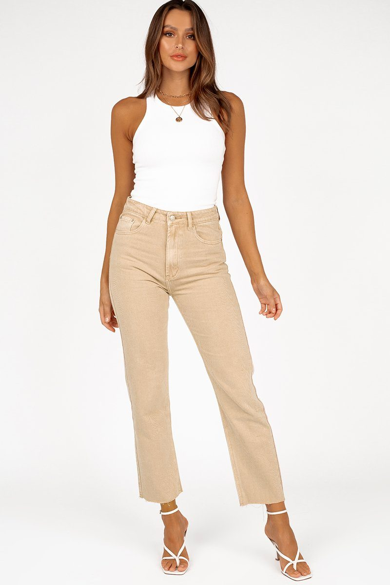 MARGI SLIM STRAIGHT BEIGE JEAN Clothing DISSH Boutiques 14 CREAM