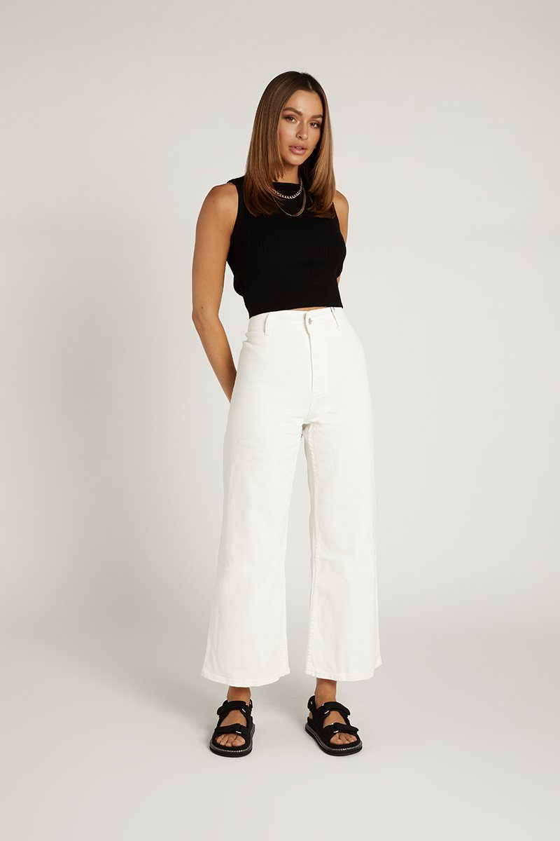 NOAH WHITE WIDE LEG DENIM JEAN