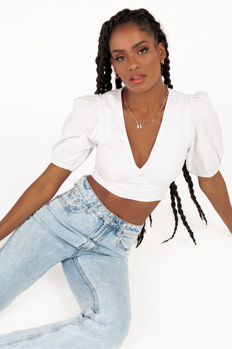 DANIELLE WHITE BUTTON CROP TOP