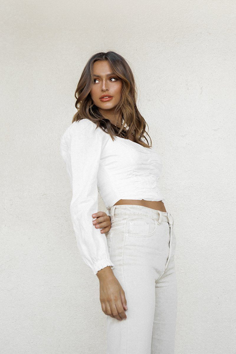 MARGOT WHITE LINEN SLEEVED CROP TOP Clothing DISSH Boutiques 14 WHITE